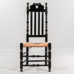 Black- and Gold-painted Heart and Crown Bannister-back Chair