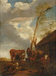 Dutch School, 18th Century Style      Tending to the Cows