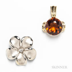 14kt White Gold and Diamond Floral Slide and a 14kt Gold, Citrine, and Diamond Slide