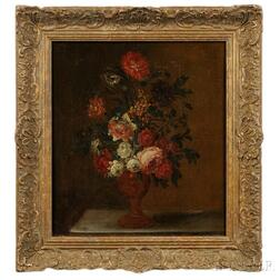 Continental School, 17th/18th Century      Floral Still Life in a Classical Urn
