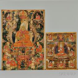 Two Thangkas of Tsong Khapa