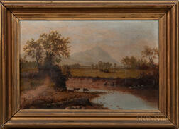 American School, 19th Century        River View with Cows