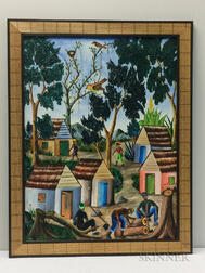 Adam Leontus (Haitian, 1928-1986)      Chopping Wood/A Village Scene