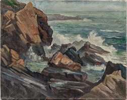Edward Brodney (American, 1920-2002)      Rocky Coast with Breaking Waves