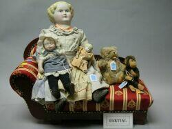 Three Dolls, Steiff Teddy Bear and Monkey, and Miscellaneous Furniture