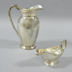 Gorham Sterling Silver Sauceboat and S. Kirk & Sons Monogrammed Water Pitcher