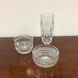 Cut Glass Vase and Two Bowls