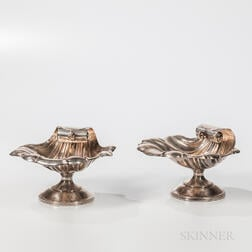 Pair of Silver Shell-form Compotes