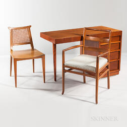 T.H. Robsjohn-Gibbings for Widdicomb Desk, a Ladder-back Chair, and a Side Chair