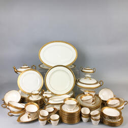 Approximately Ninety Pieces of Morgan Belleek Gilt-rimmed Porcelain Tableware.