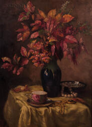 American/British School, 20th Century    Still Life with Flowers, Jewelry, and Tea