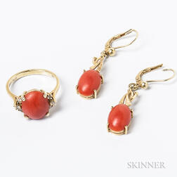 14kt Gold and Coral Ring and Earpendants