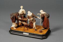"""German Carved Fruitwood and Ivory Figure Group ,""""The Fortune Teller"""""""