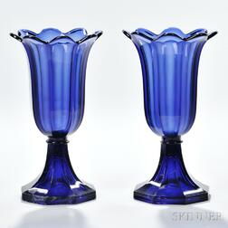 Pair of Dark Blue Pressed Glass Tulip Vases
