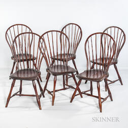 Set of Six Bamboo-turned Windsor Bow-back Side Chairs