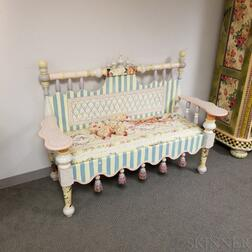 MacKenzie-Childs Paint-decorated Tasseled Bench