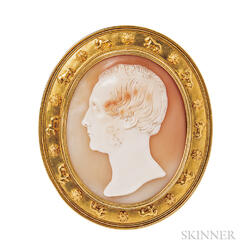 Grand Tour Shell Cameo of a Gentleman, Tommaso Saulini, Mounted by Castellani