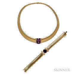 14kt Gold, Amethyst, and Diamond Necklace and Bracelet