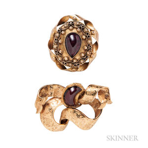 Two Gold and Garnet Brooches