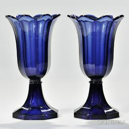 Pair of Blue Pressed Glass Tulip Vases