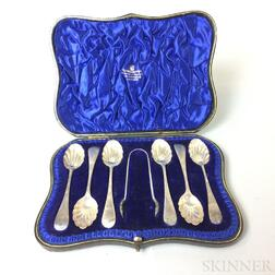 Cased Set of Six Wakely & Wheeler Sterling Silver Shell-form Spoons and a Pair of Tongs