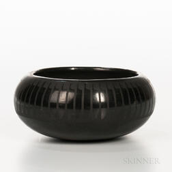 San Ildefonso Black-on-black Pottery Bowl