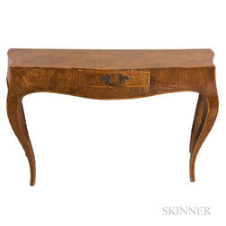 Continental Provincial-style Burl Veneer Console Table