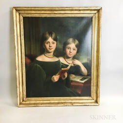 American School, 19th Century       Portrait of Two Sisters in Green Dresses