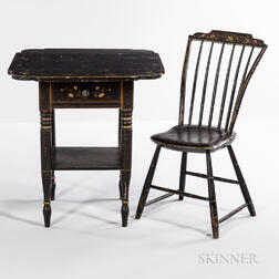 Grained and Floral-decorated Stand and Side Chair