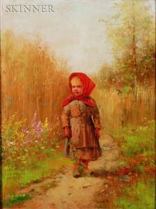 Johan Severin Nilson (Swedish, 1846-1918)    Young Girl on a Country Path