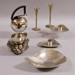 Group of Mid-century and Modern Stainless Steel Tableware Items