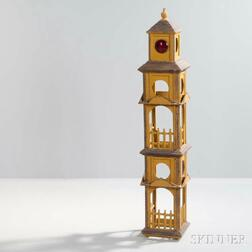 Tramp Art Tower with Mustard Paint