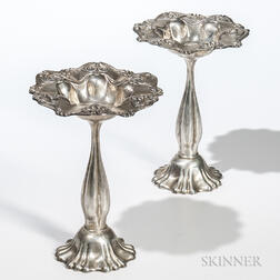 Pair of Art Nouveau Sterling Silver Weighted Compotes