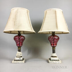 Pair of Etched Cranberry Glass Lamps