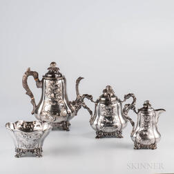 Four-piece Charters, Cann & Dunn Coin Silver Coffee Service