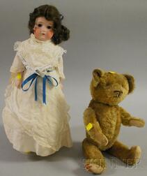 Armand Marseille Bisque Head Doll and a Jointed Teddy Bear