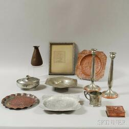 Ten Pieces of Copper and Pewter Tableware