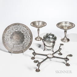 Gorham Sterling Silver Reticulated Dish, Two Weighted Compotes, Silver-plated Tobacco Box, and Dish Cross
