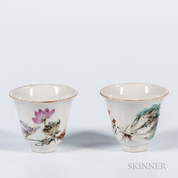 Pair of Enameled White Porcelain Cups