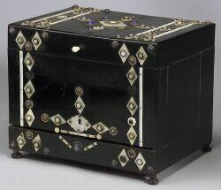 Ebony, Mother of Pearl and Enamel Tantalus Box