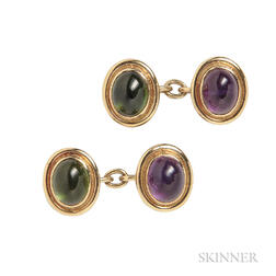 18kt Gold, Tourmaline, and Amethyst Cabochon Cuff Links