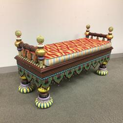 "MacKenzie-Childs Upholstered, Beaded, and Paint-decorated Wood and Ceramic ""Ridiculous"" Bench"