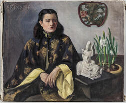 Margaret Fitzhugh Browne (American, 1884-1972)      Woman with Narcissus and Asian Objets d'Art