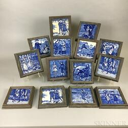 Fourteen Framed Wedgwood Blue Transfer-decorated Ceramic Month Tiles