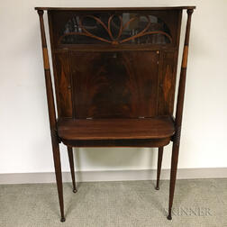 Edwardian Glazed and Inlaid Mahogany Lady's Writing Desk