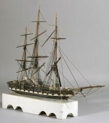 Carved and Painted Wooden Model Of the Ship United States