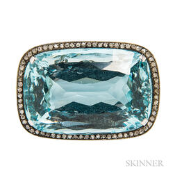 Aquamarine and Diamond Brooch
