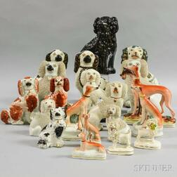 Twenty Staffordshire Ceramic Spaniels and Whippets