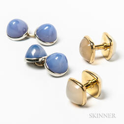 Two Pairs of 14kt Gold and Chalcedony Cuff Links