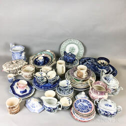Large Group of Mostly Blue and White Transfer-decorated Ceramic Tableware.     Estimate $20-200